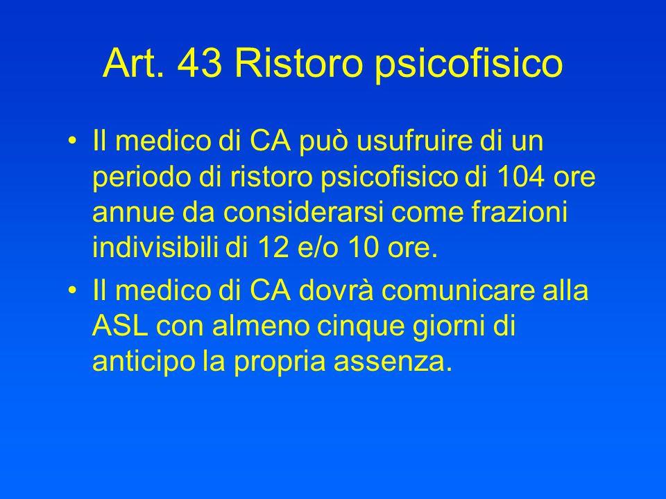 Art. 43 Ristoro psicofisico