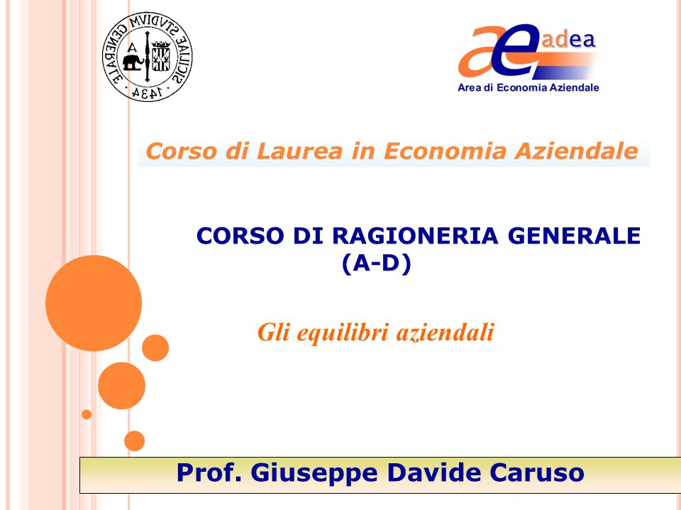 CORSO DI RAGIONERIA GENERALE (A-D)