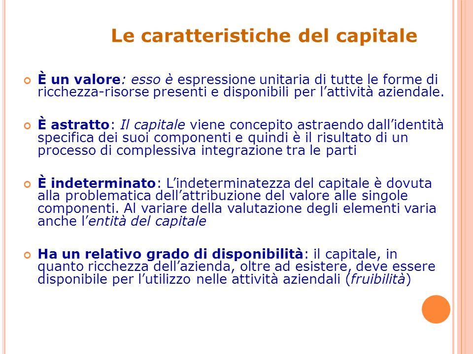 Le caratteristiche del capitale