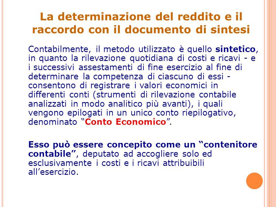 La determinazione del reddito e il raccordo con il documento di sintesi