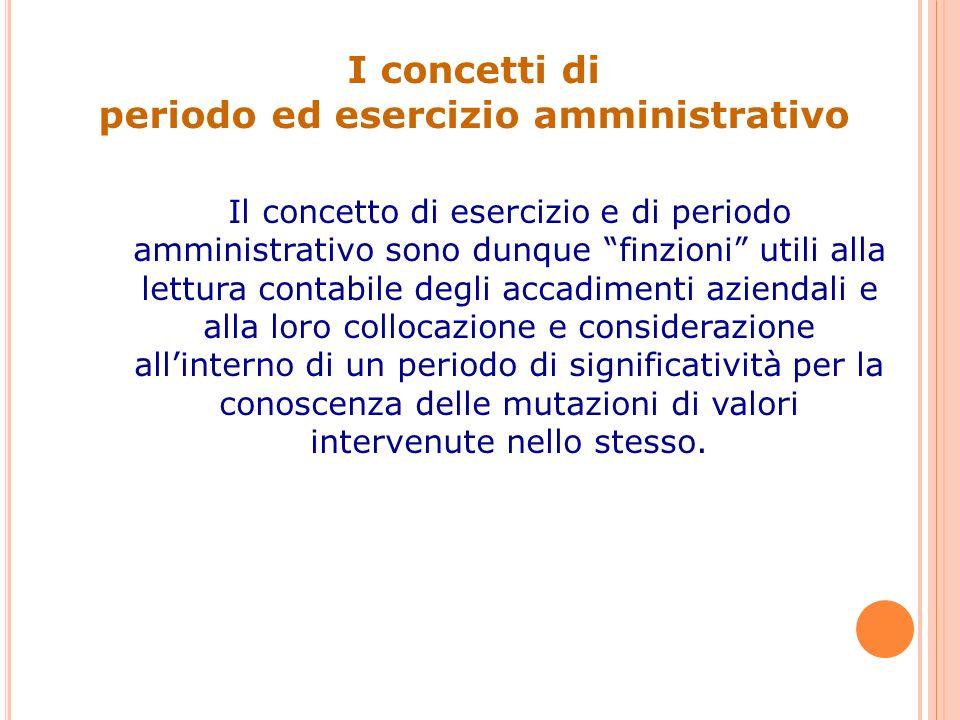 periodo ed esercizio amministrativo