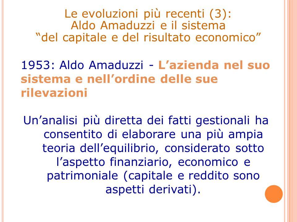 Le evoluzioni più recenti (3): Aldo Amaduzzi e il sistema