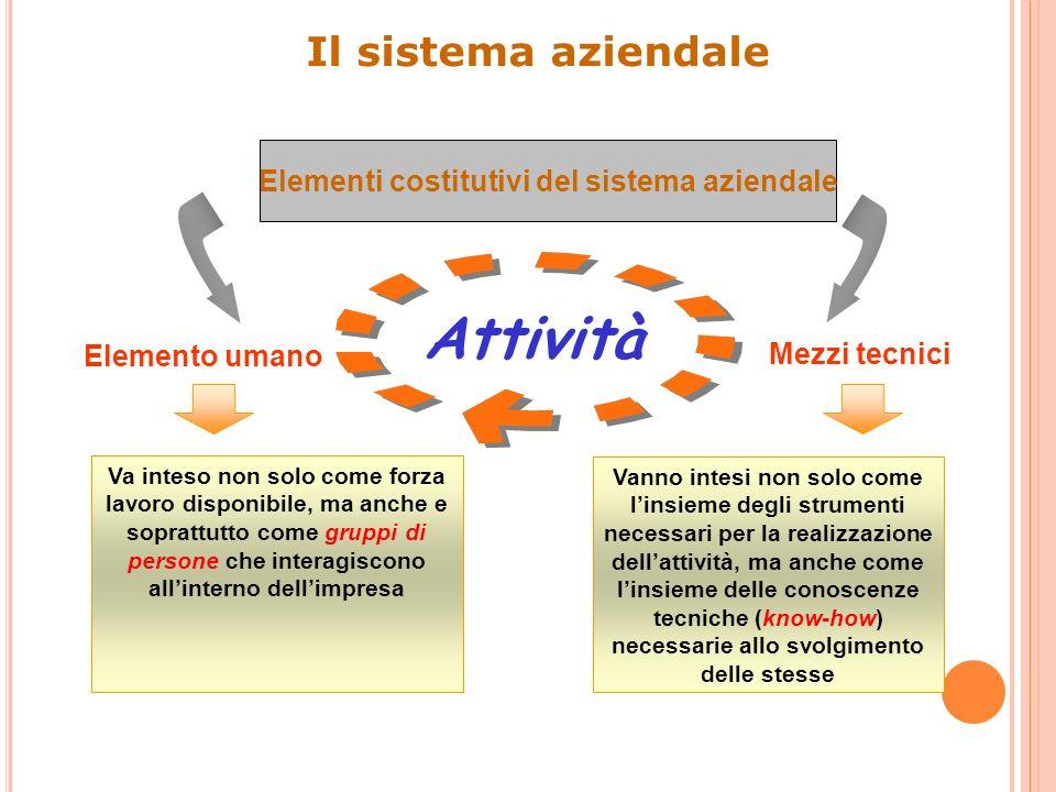 Elementi costitutivi del sistema aziendale