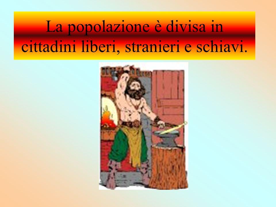 La popolazione è divisa in cittadini liberi, stranieri e schiavi.