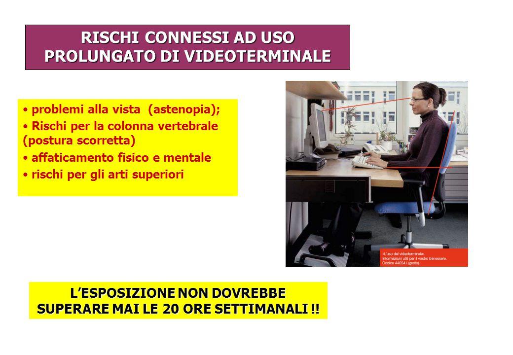 RISCHI CONNESSI AD USO PROLUNGATO DI VIDEOTERMINALE
