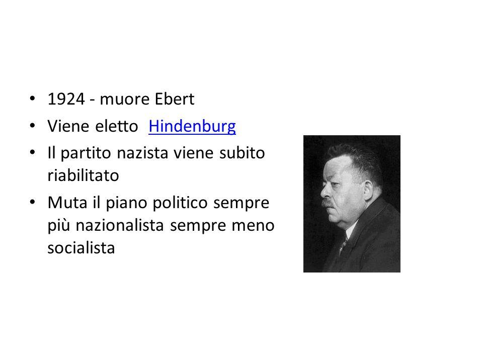 Viene eletto Hindenburg Il partito nazista viene subito riabilitato