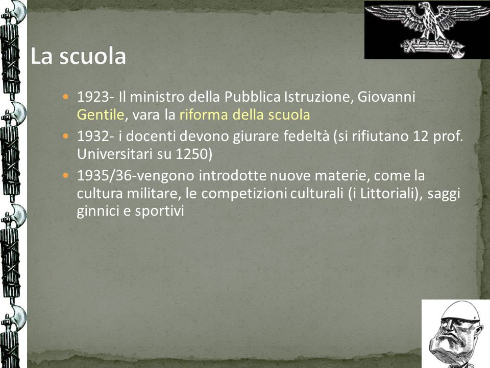 La scuola1923- Il ministro della Pubblica Istruzione, Giovanni Gentile, vara la riforma della scuola.