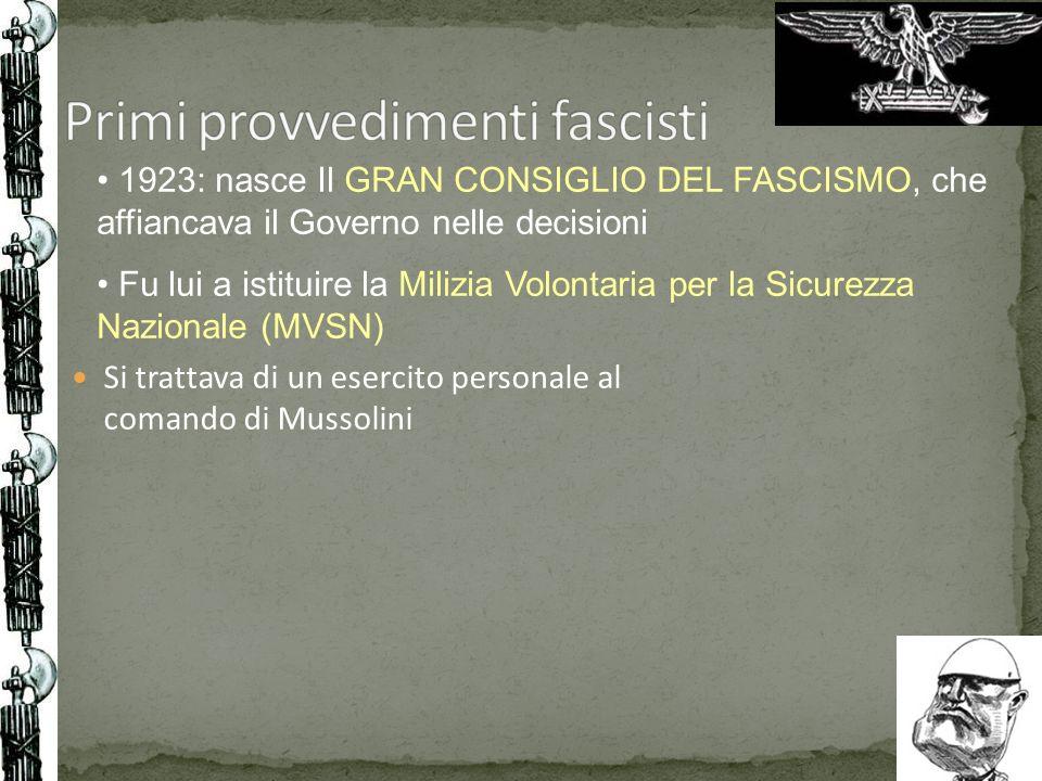 Primi provvedimenti fascisti