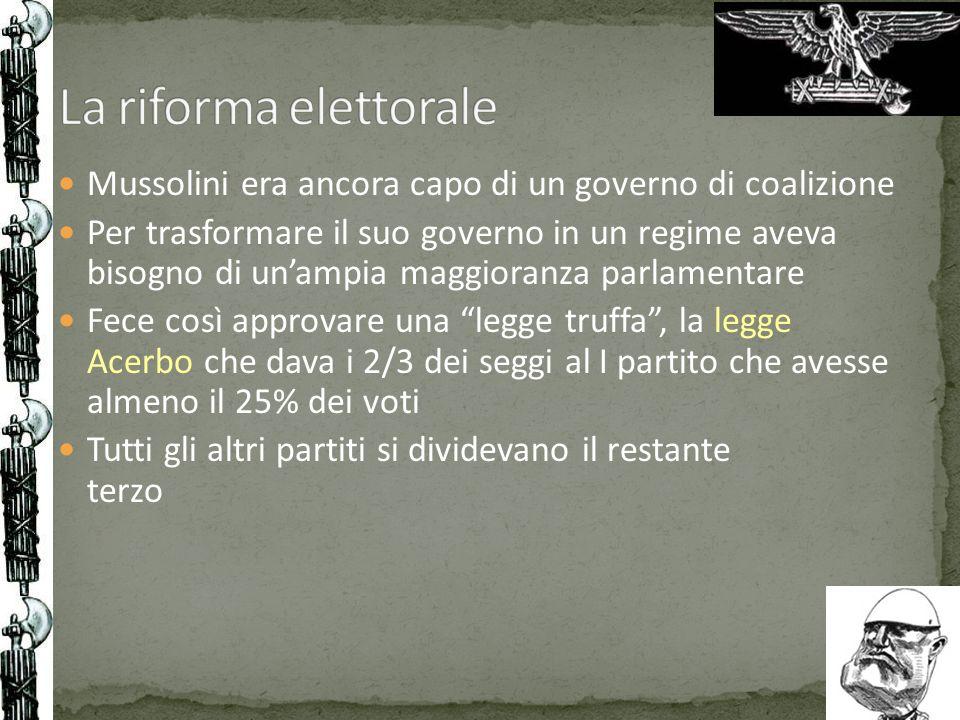 La riforma elettorale Mussolini era ancora capo di un governo di coalizione.