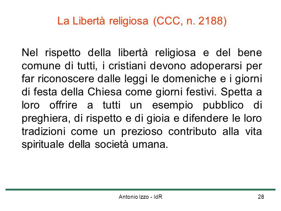 La Libertà religiosa (CCC, n. 2188)