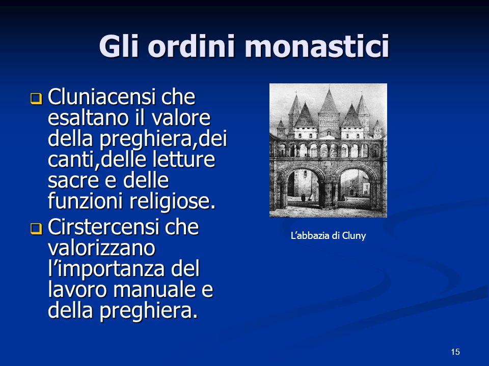 Gli ordini monastici Cluniacensi che esaltano il valore della preghiera,dei canti,delle letture sacre e delle funzioni religiose.