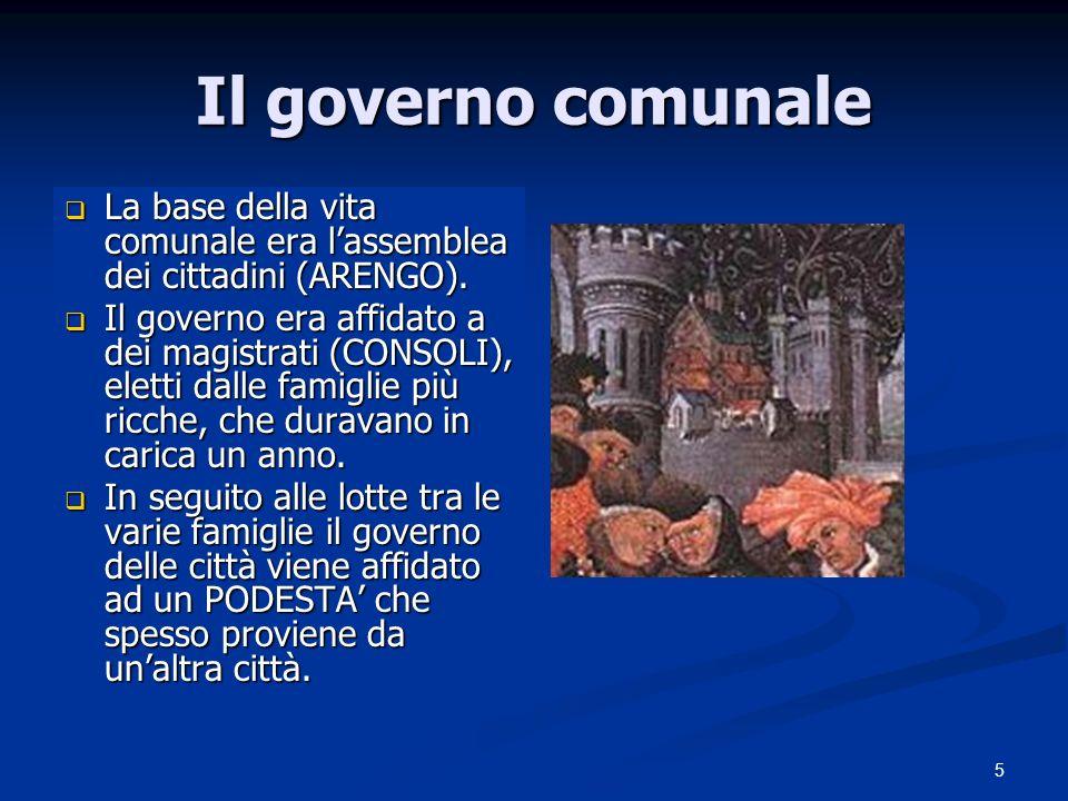 Il governo comunale La base della vita comunale era l'assemblea dei cittadini (ARENGO).