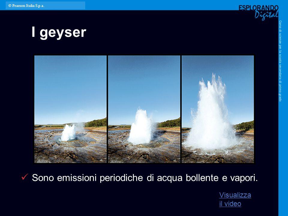 I geyser Sono emissioni periodiche di acqua bollente e vapori.