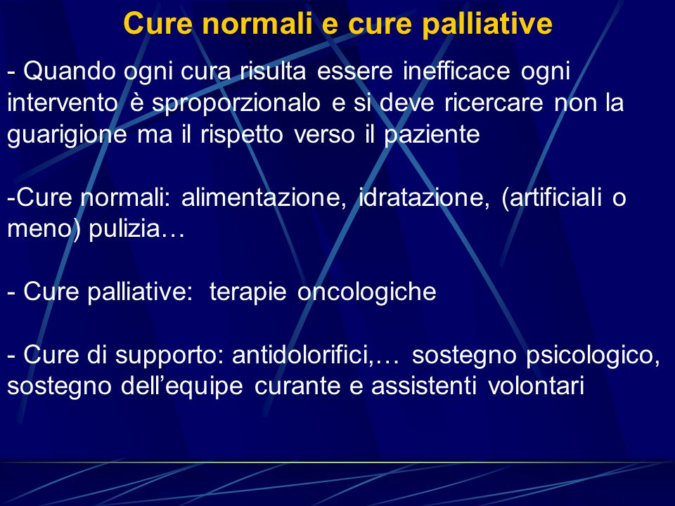 Cure normali e cure palliative