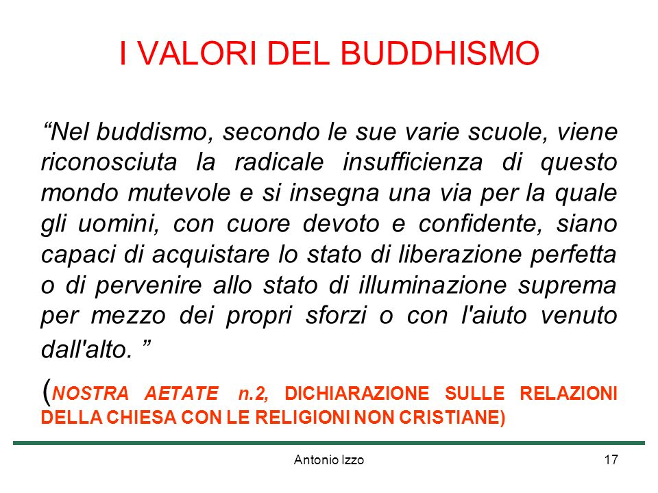 I VALORI DEL BUDDHISMO