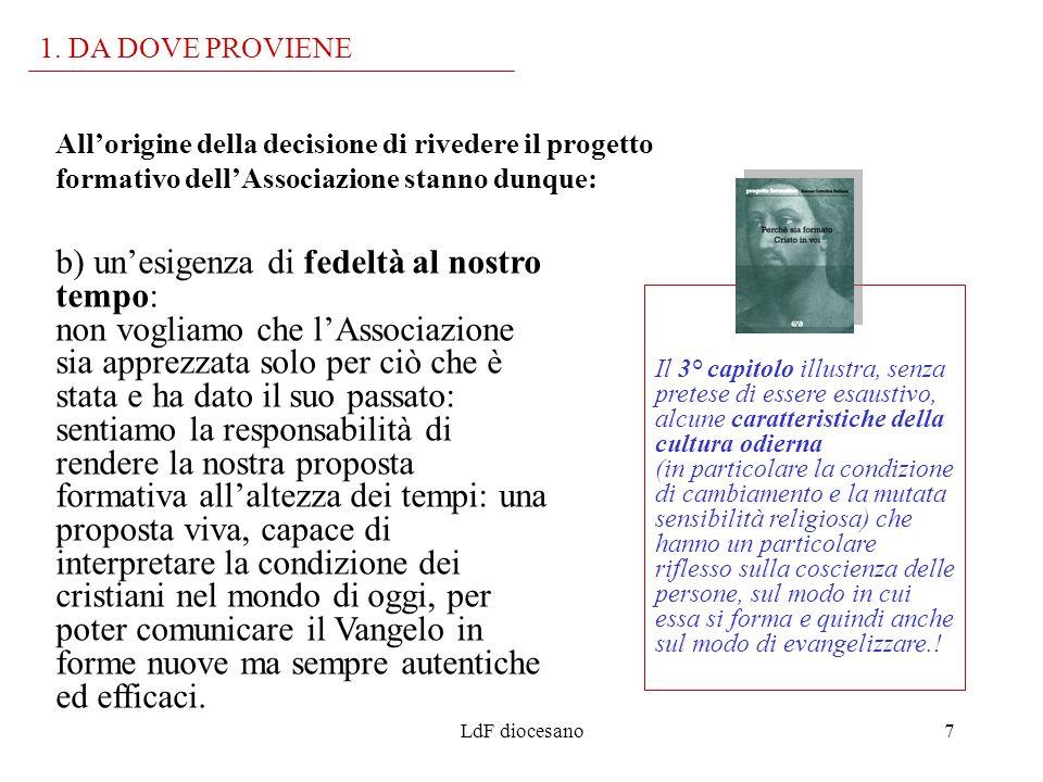 1. DA DOVE PROVIENEAll'origine della decisione di rivedere il progetto formativo dell'Associazione stanno dunque: