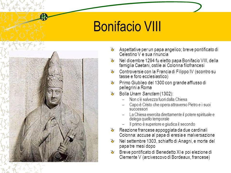 Bonifacio VIII Aspettative per un papa angelico; breve pontificato di Celestino V e sua rinuncia.