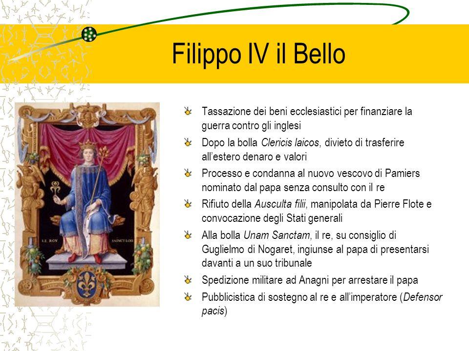 Filippo IV il Bello Tassazione dei beni ecclesiastici per finanziare la guerra contro gli inglesi.