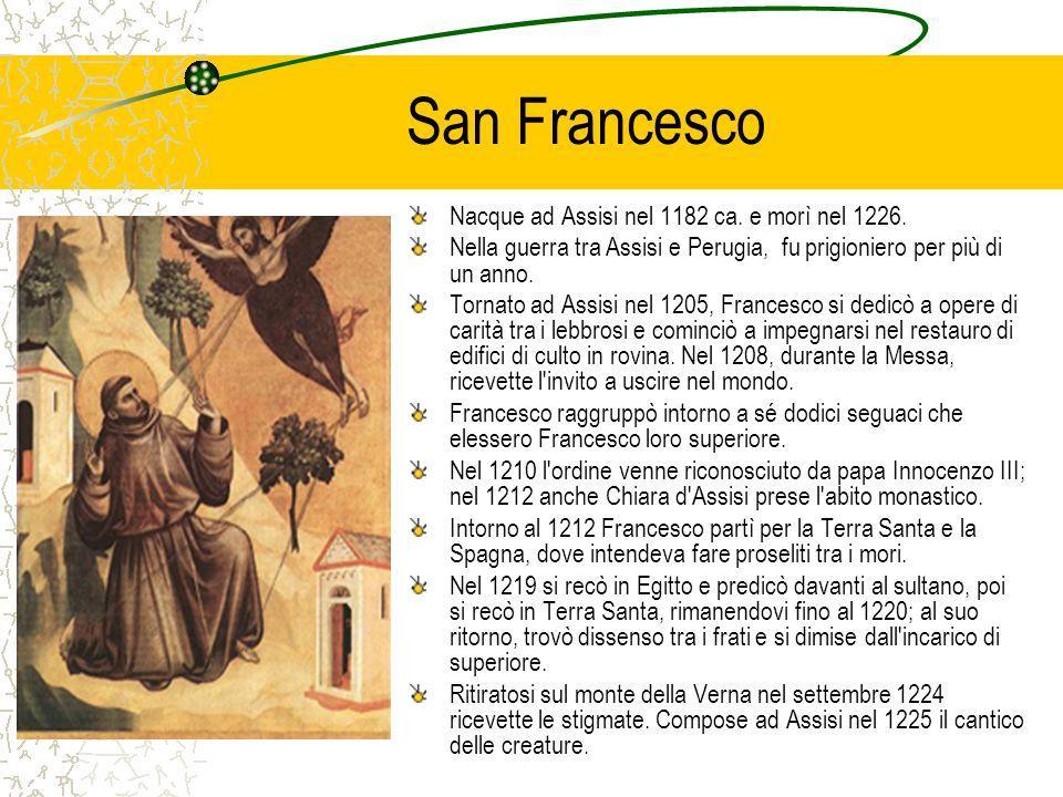 San Francesco Nacque ad Assisi nel 1182 ca. e morì nel 1226.