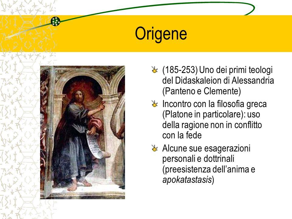 Origene(185-253) Uno dei primi teologi del Didaskaleion di Alessandria (Panteno e Clemente)