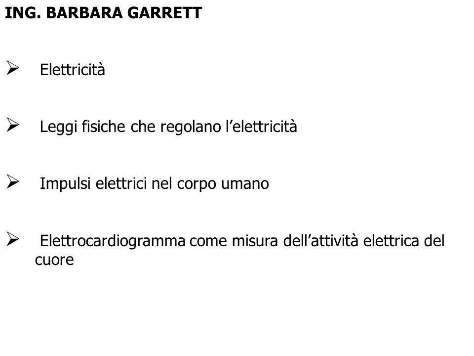 ING. BARBARA GARRETT Elettricità. Leggi fisiche che regolano l'elettricità. Impulsi elettrici nel corpo umano.