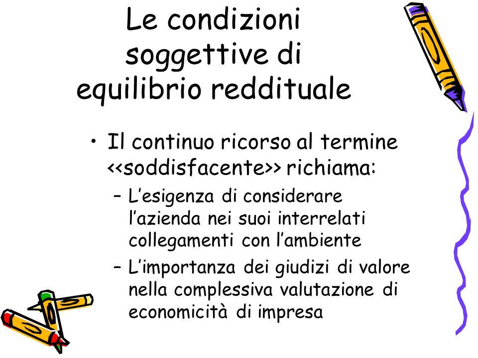 Le condizioni soggettive di equilibrio reddituale
