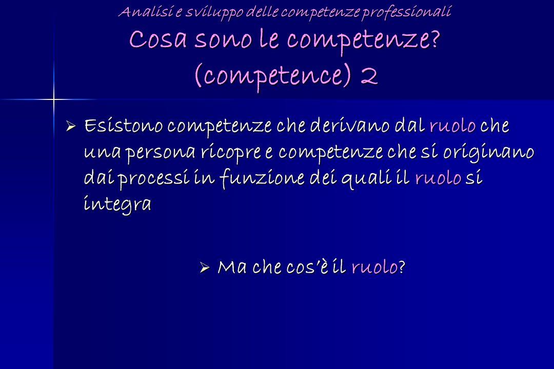 Analisi e sviluppo delle competenze professionali Cosa sono le competenze (competence) 2