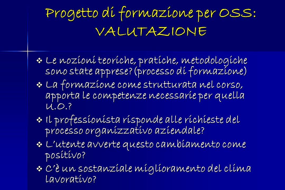 Progetto di formazione per OSS: VALUTAZIONE