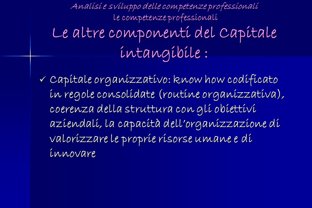 Analisi e sviluppo delle competenze professionali le competenze professionali Le altre componenti del Capitale intangibile :