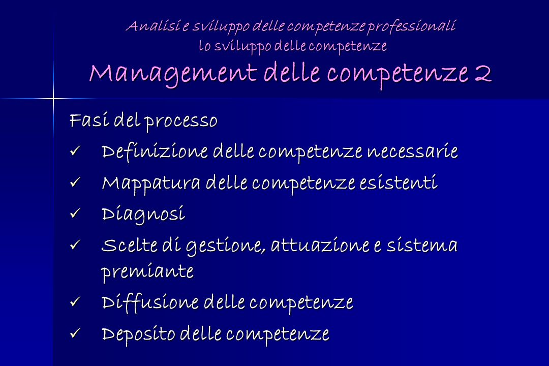 Definizione delle competenze necessarie