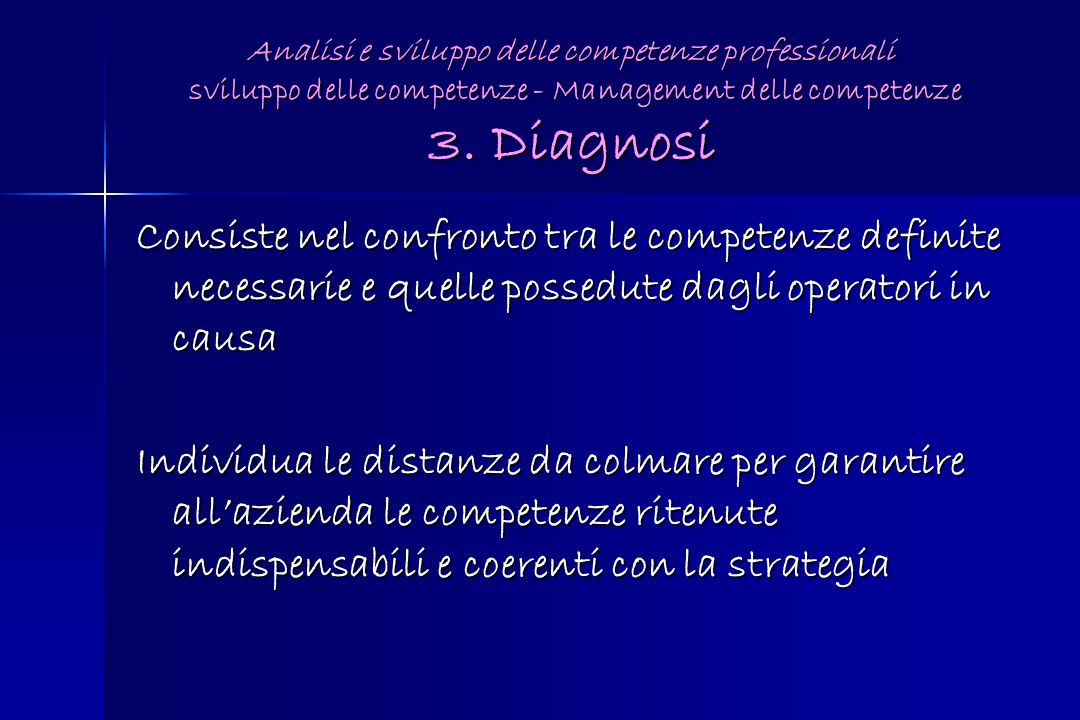 Analisi e sviluppo delle competenze professionali sviluppo delle competenze - Management delle competenze 3. Diagnosi