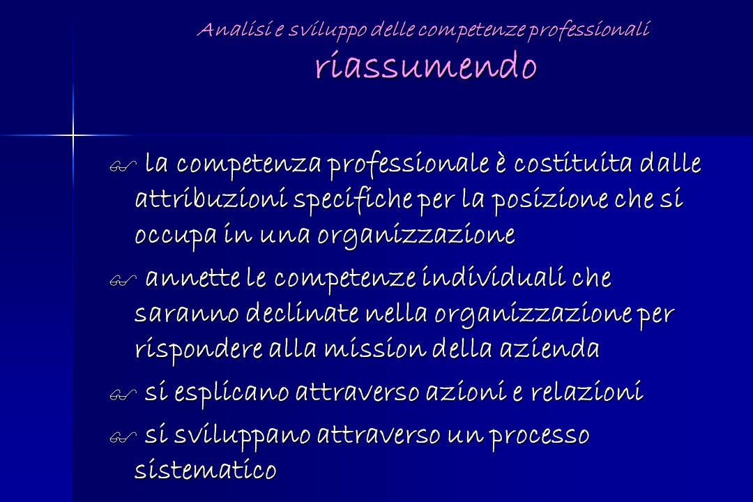 Analisi e sviluppo delle competenze professionali riassumendo
