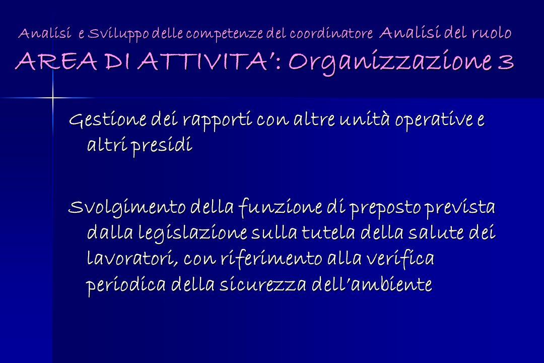 Gestione dei rapporti con altre unità operative e altri presidi