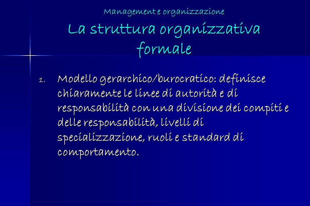 Management e organizzazione La struttura organizzativa formale