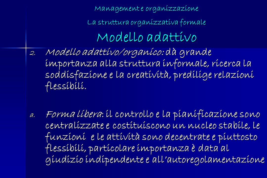 Management e organizzazione La struttura organizzativa formale Modello adattivo