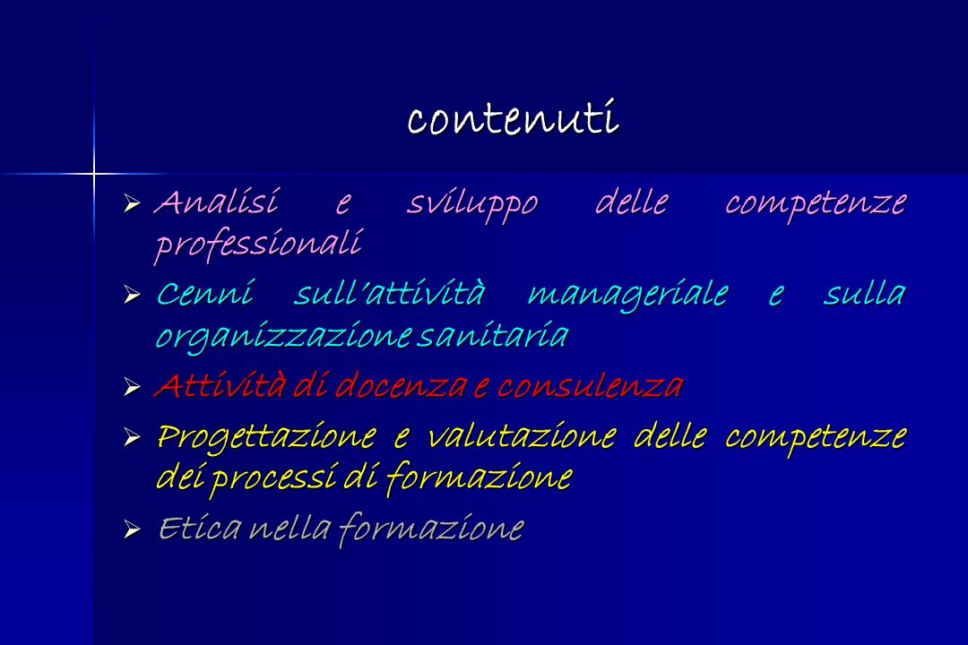 contenuti Analisi e sviluppo delle competenze professionali