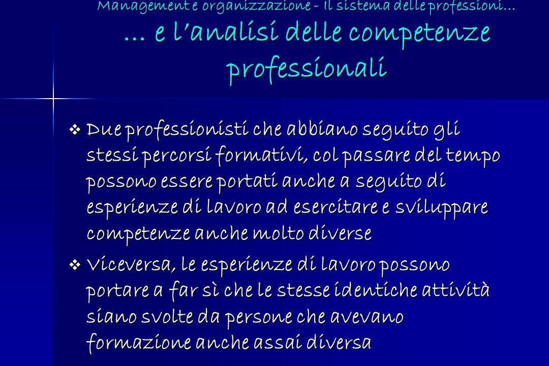 Management e organizzazione - Il sistema delle professioni… … e l'analisi delle competenze professionali
