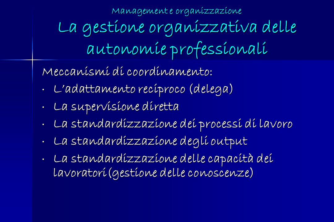 Meccanismi di coordinamento: L'adattamento reciproco (delega)