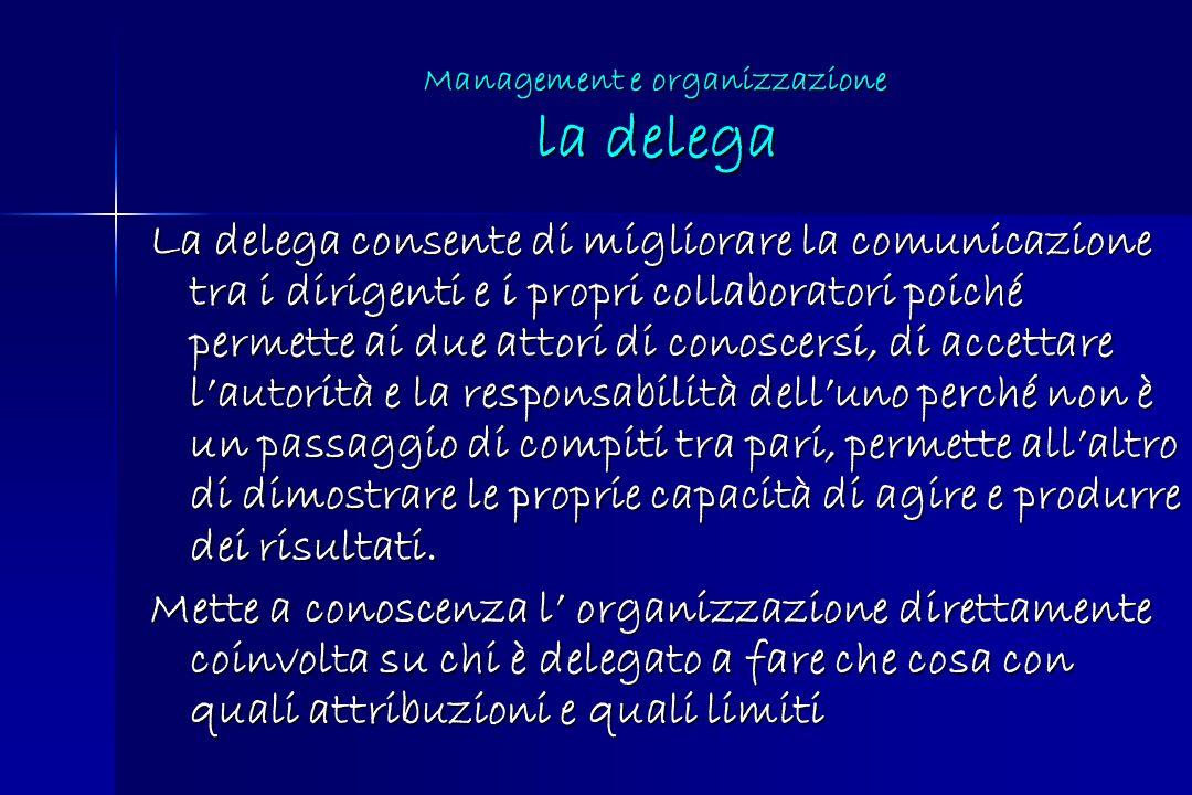 Management e organizzazione la delega
