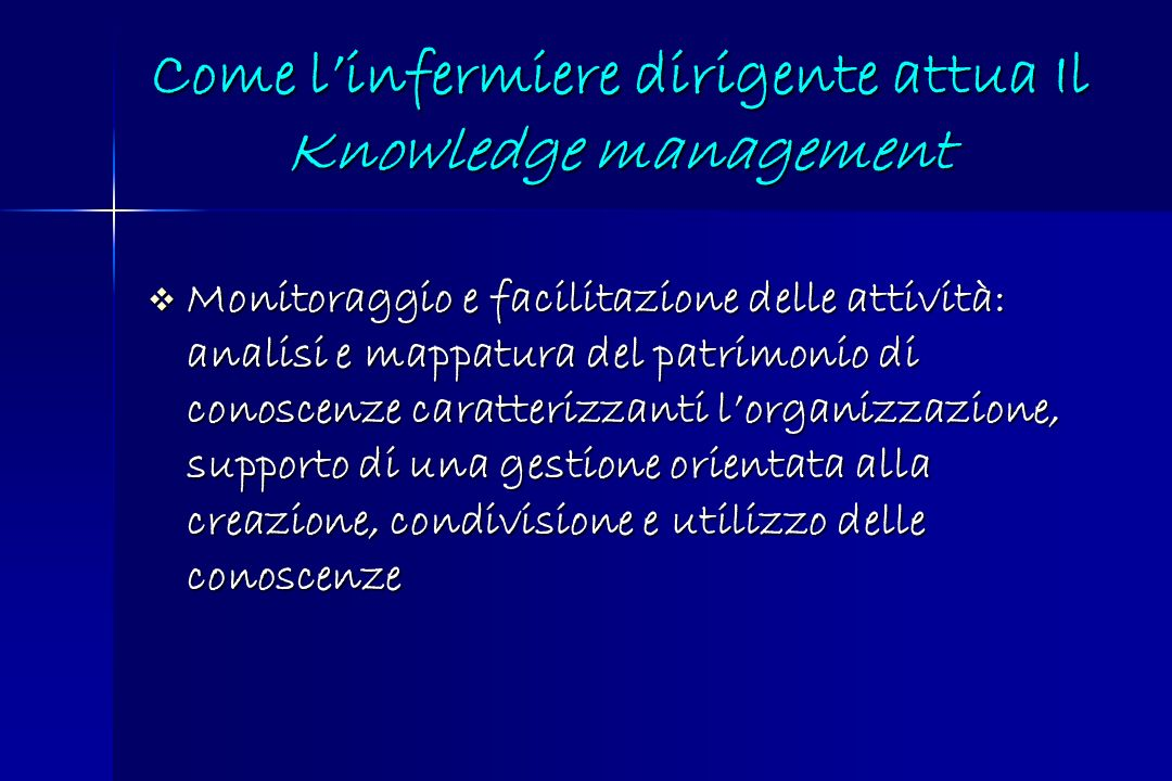 Come l'infermiere dirigente attua Il Knowledge management
