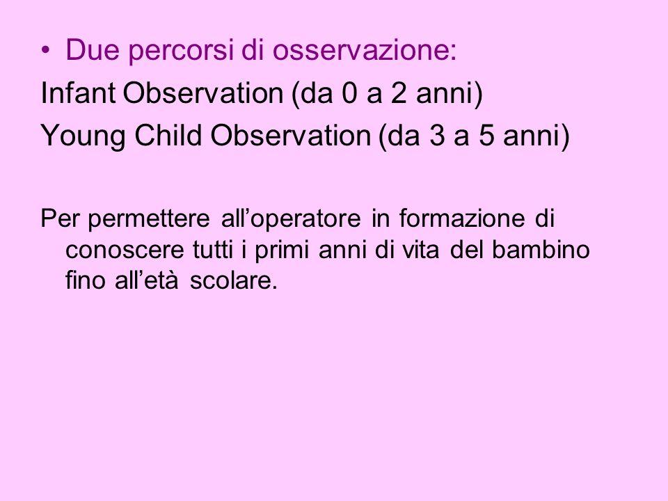 Due percorsi di osservazione: Infant Observation (da 0 a 2 anni)