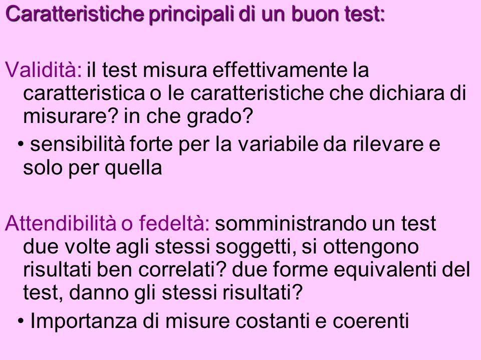 Caratteristiche principali di un buon test: