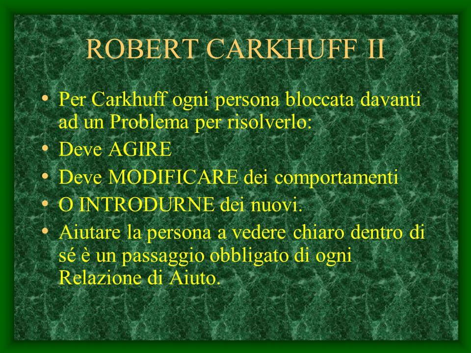 ROBERT CARKHUFF II Per Carkhuff ogni persona bloccata davanti ad un Problema per risolverlo: Deve AGIRE.