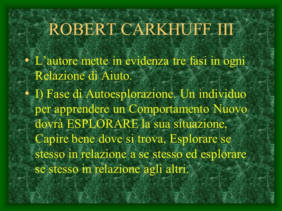 ROBERT CARKHUFF III L'autore mette in evidenza tre fasi in ogni Relazione di Aiuto.