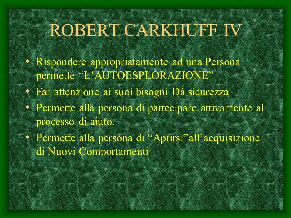ROBERT CARKHUFF IV Rispondere appropriatamente ad una Persona permette L'AUTOESPLORAZIONE Far attenzione ai suoi bisogni Dà sicurezza.