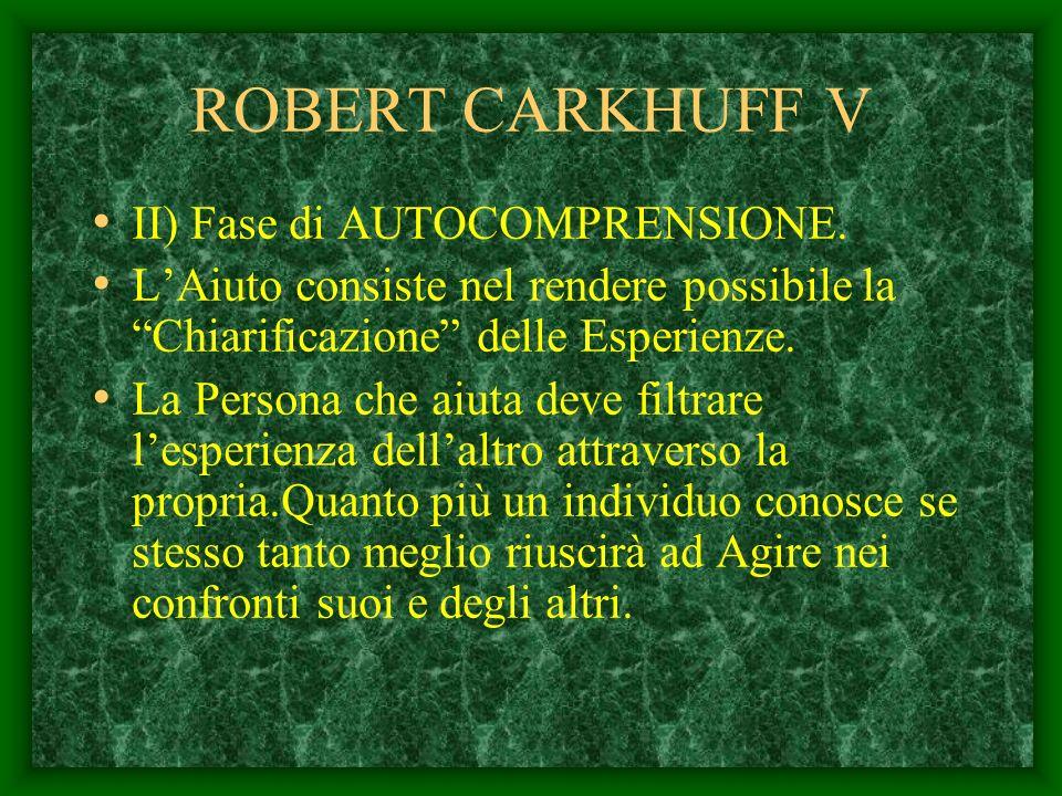 ROBERT CARKHUFF V II) Fase di AUTOCOMPRENSIONE.