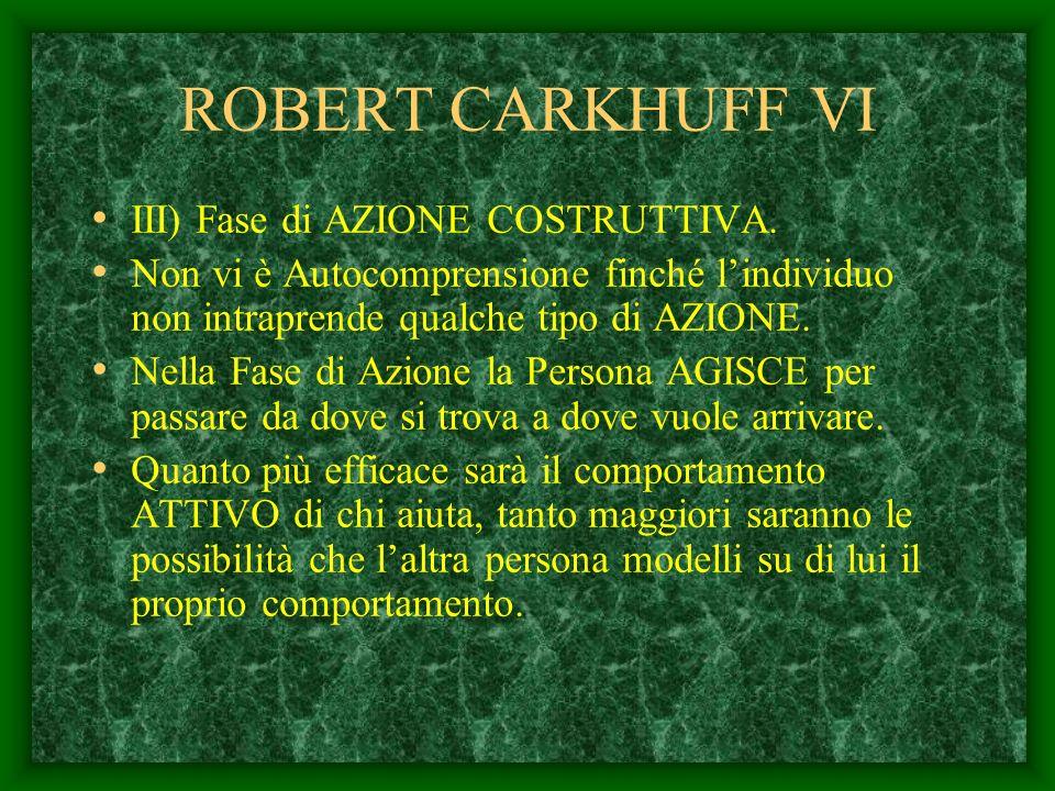 ROBERT CARKHUFF VI III) Fase di AZIONE COSTRUTTIVA.