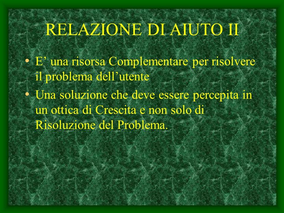 RELAZIONE DI AIUTO II E' una risorsa Complementare per risolvere il problema dell'utente.