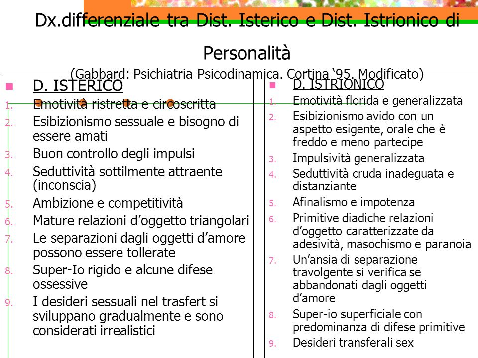 Dx. differenziale tra Dist. Isterico e Dist