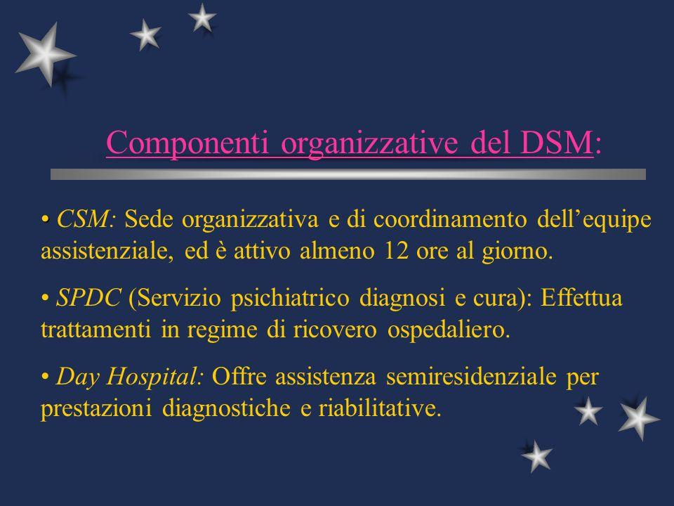 Componenti organizzative del DSM:
